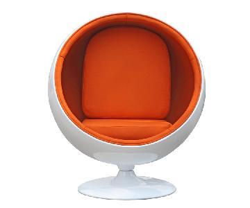 Retro Style Ball Chair in White Fiberglass w/ Orange Fabric