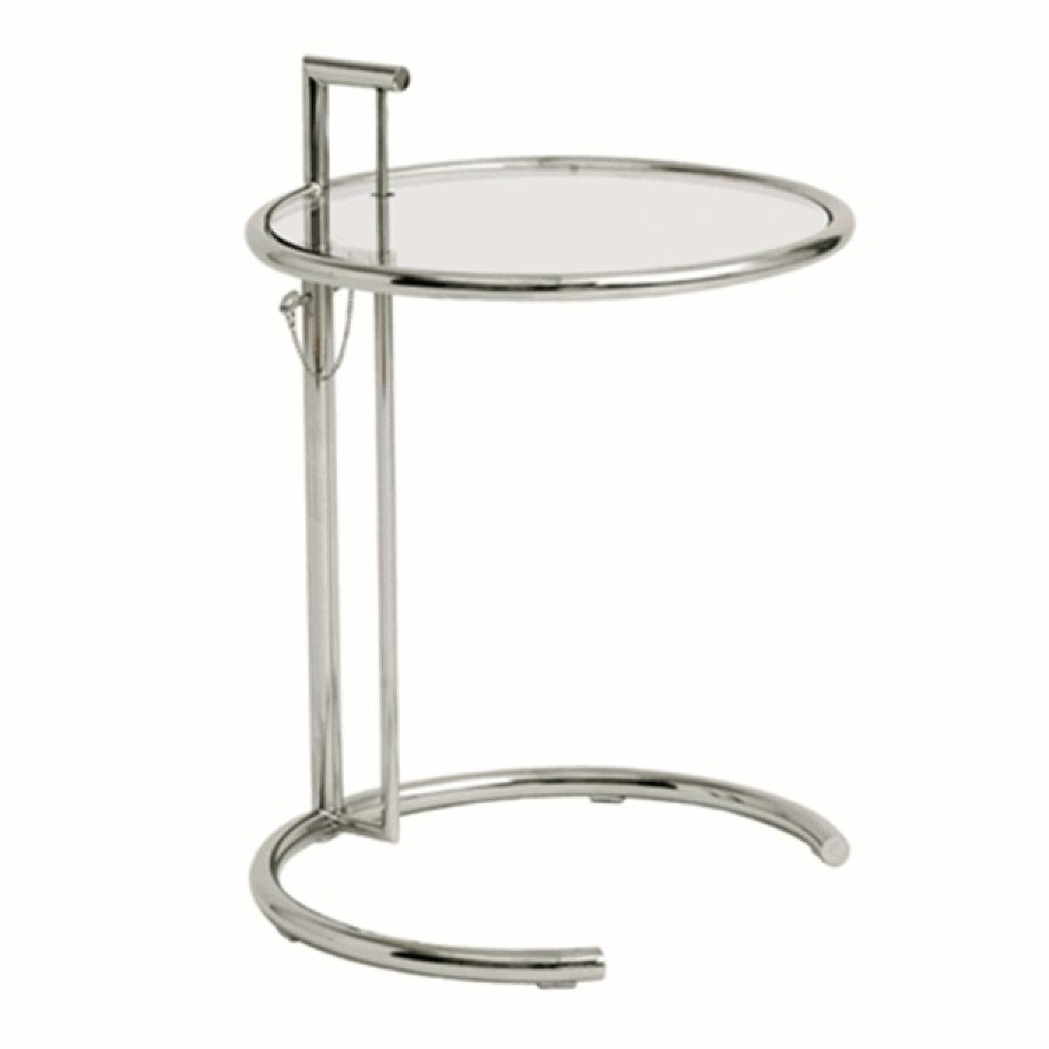 Mid Century Style Side Table w/ Steel Frame & Height Adjusta
