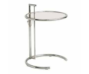 Mid Century Style Side Table w/ Steel Frame & Height Adjusta