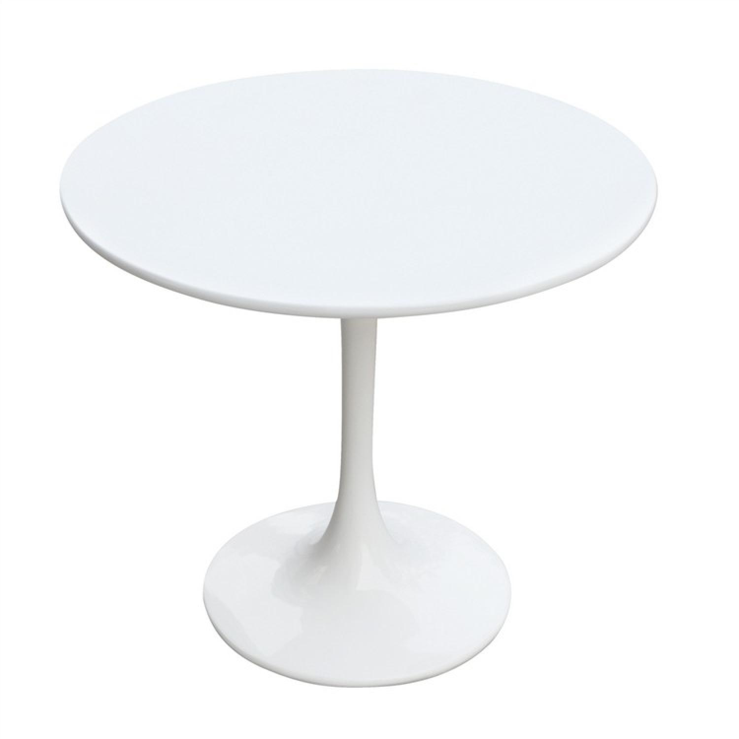 Mid Century Style Side Table in White Lacquer Fiber Glass