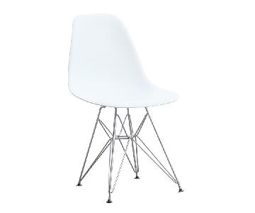 Retro Style Dining Chair w/ White ABS Shell & Steel Wire Leg