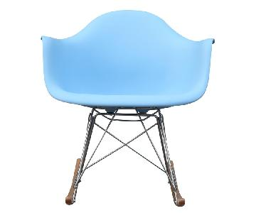 Rocking Arm Chair in Light Blue ABS w/ Stainless Steel Legs & Ashwood Runners