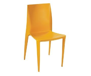 Modern Dining Chair in Yellow Molded ABS