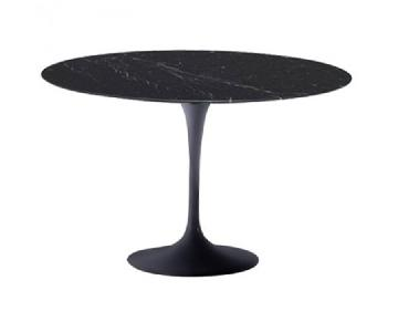 Black Tulip Style Round Dining Table w/ Marble Top & Fiberglass Base