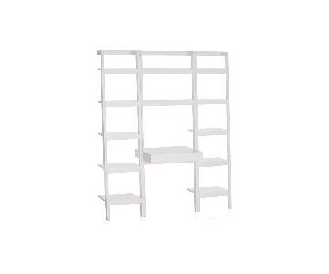 Crate & Barrel Sawyer White Leaning Desk w Bookcases & Chair