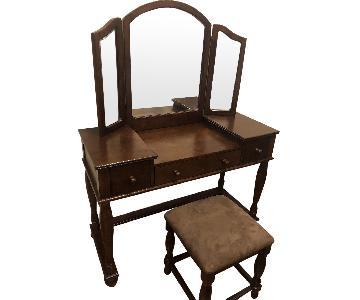 Bob's Solid Wood Vanity Table w/ Mirror & Stool