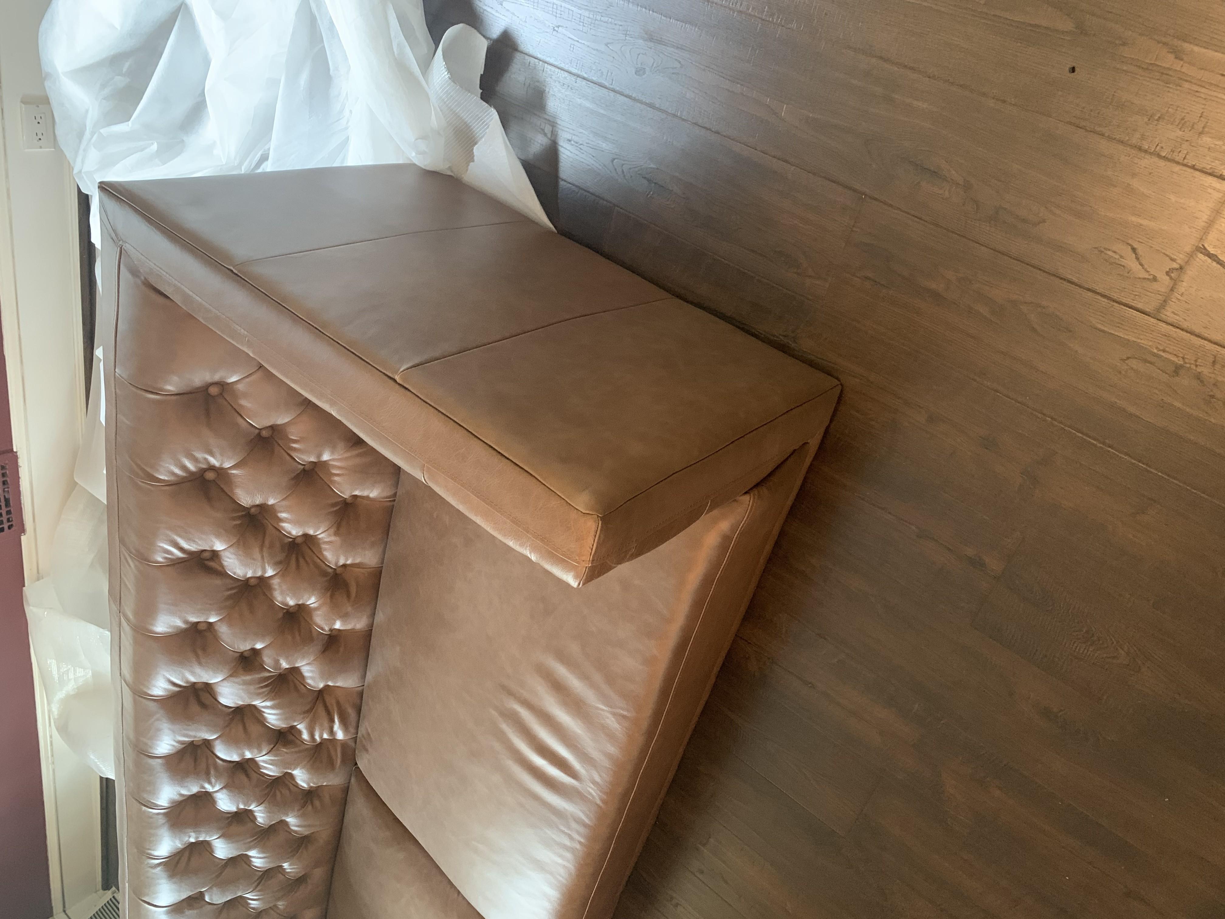 CB2 Savile Dark Saddle Brown Leather Tufted Sofa
