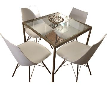 Gold & Glass Dining Table w/ 4 White & Gold Chairs