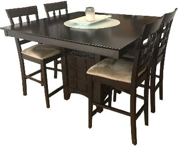 Counter-Height Table w/ Lazy Susan & Wine Storage + 4 Chairs