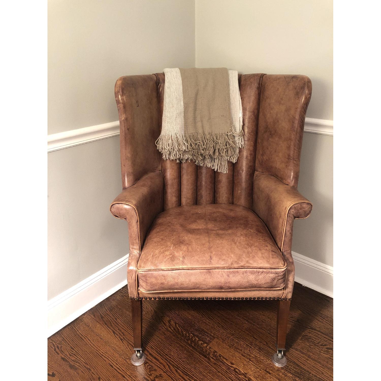 Restoration Hardware Warwick Leather Wingback Chair - image-1