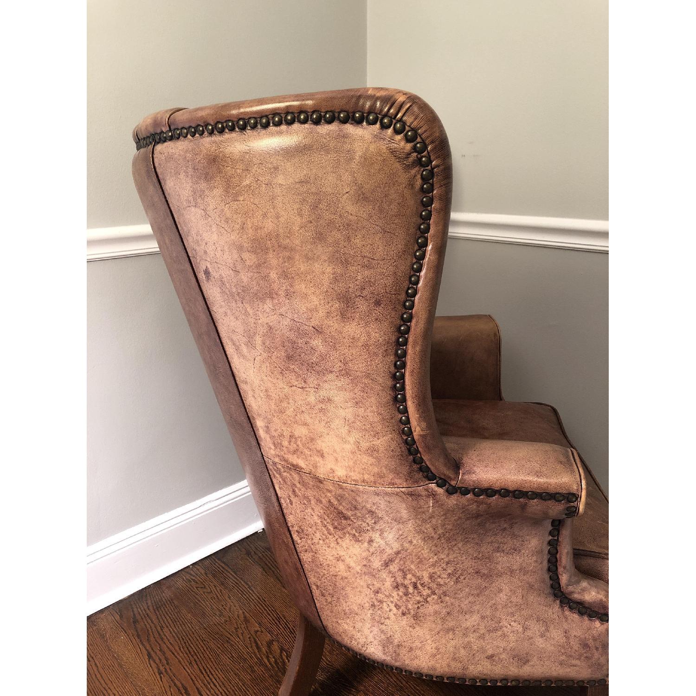 Restoration Hardware Warwick Leather Wingback Chair - image-3
