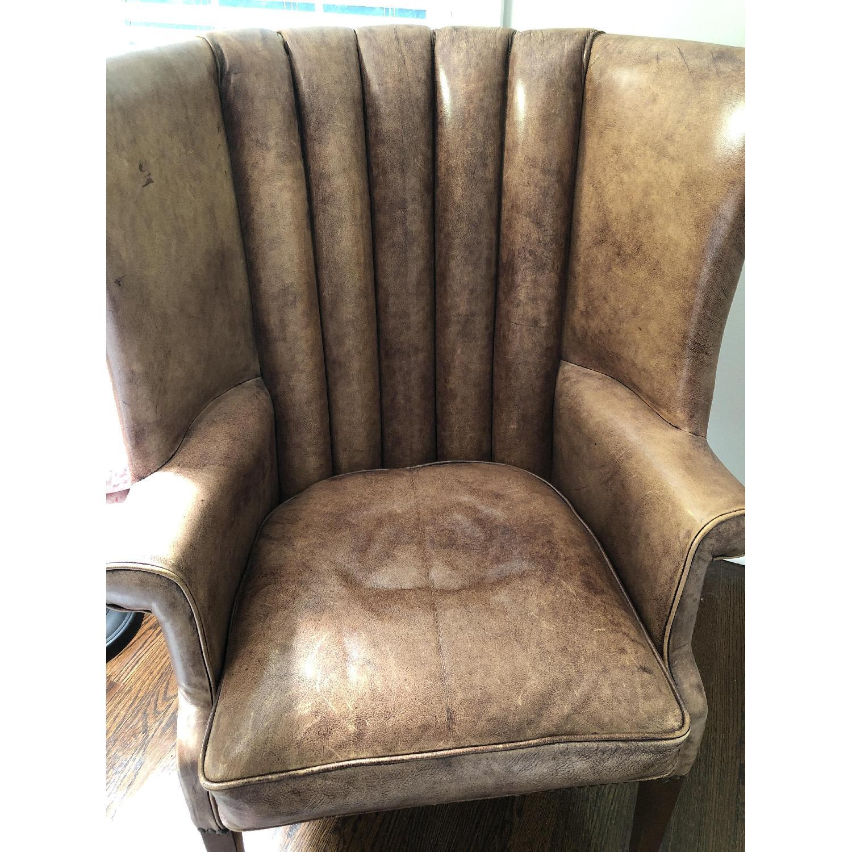 Restoration Hardware Warwick Leather Wingback Chair-7