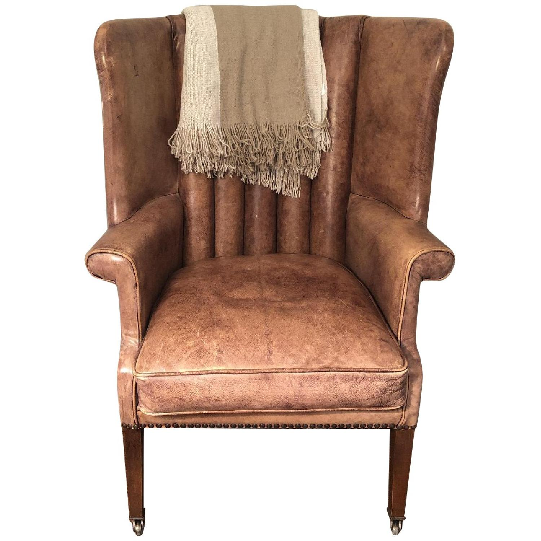 Restoration Hardware Warwick Leather Wingback Chair - image-0