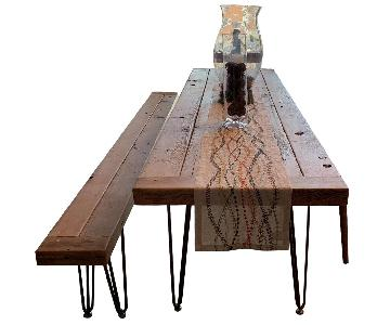 Custom Barn Wood Table & Bench