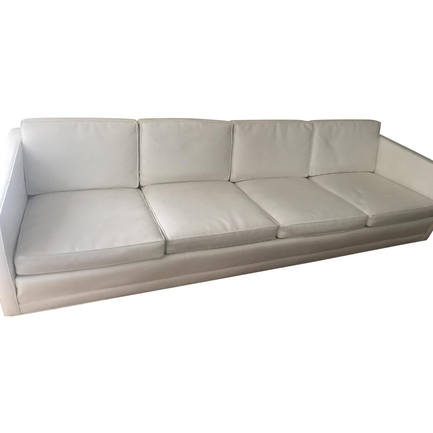 Drexel 1960s White Leather Modern Sofa - image-0