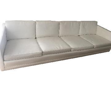 Drexel 1960s White Leather Modern Sofa