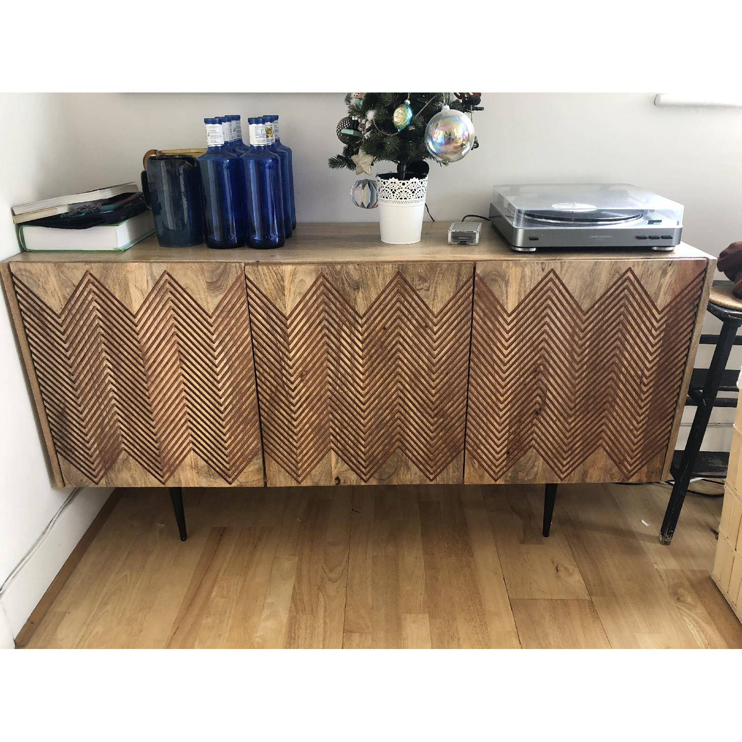 Swoon Editions Wood Sideboard w/ Chevron Pattern