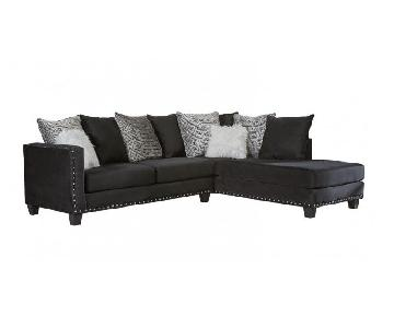 Ashley Jet Black Studded Sectional Sofa w/ Chaise