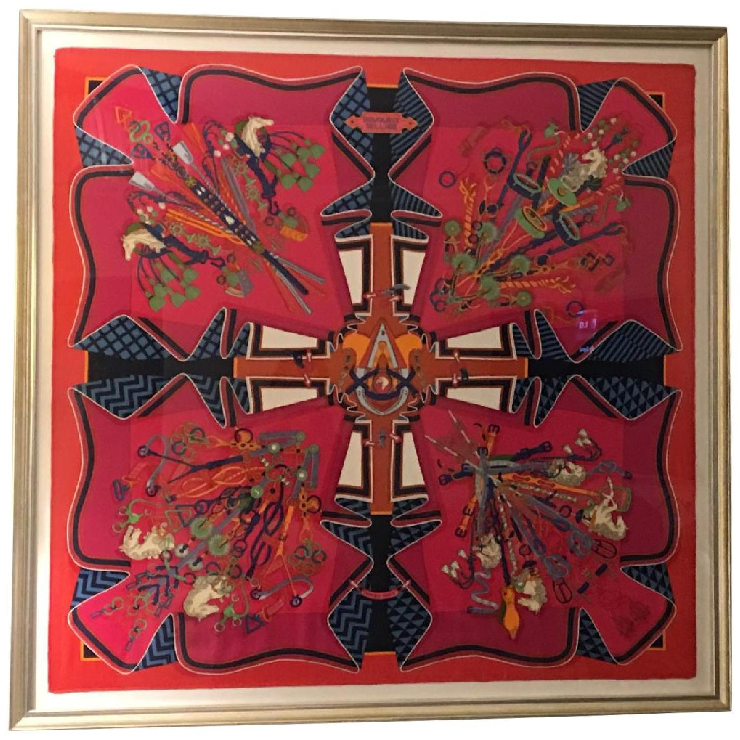 Hermes Framed Scarf Bouquet Sellier in Pink - image-0