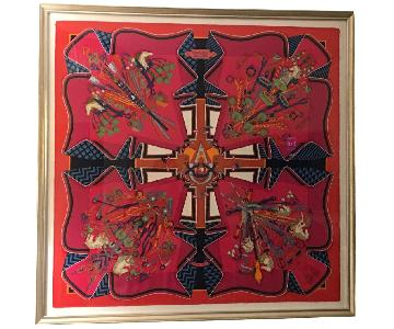 Hermes Framed Scarf Bouquet Sellier in Pink