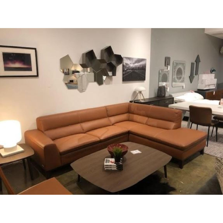 Cognac Leather Sectional Sofa w/ Dark Walnut Legs - image-1