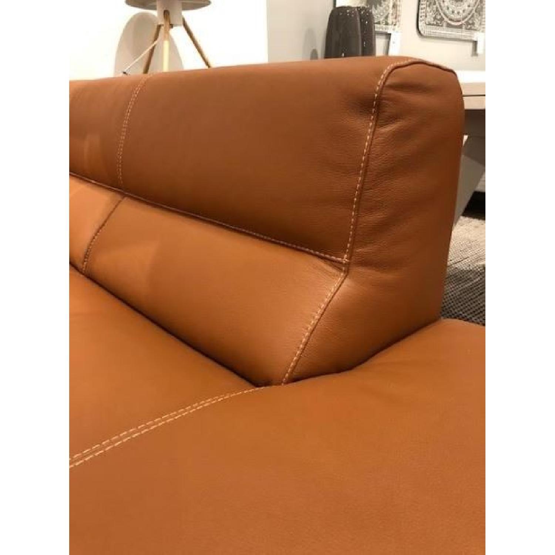 Cognac Leather Sectional Sofa w/ Dark Walnut Legs - image-3