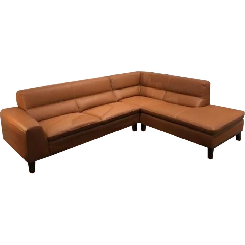 Cognac Leather Sectional Sofa w/ Dark Walnut Legs - image-0