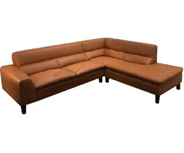 Cognac Leather Sectional Sofa w/ Dark Walnut Legs