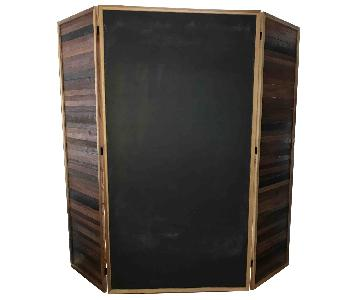 3 Panel Room Divider w/ Chalk Board & 2 Oak Wood Panels