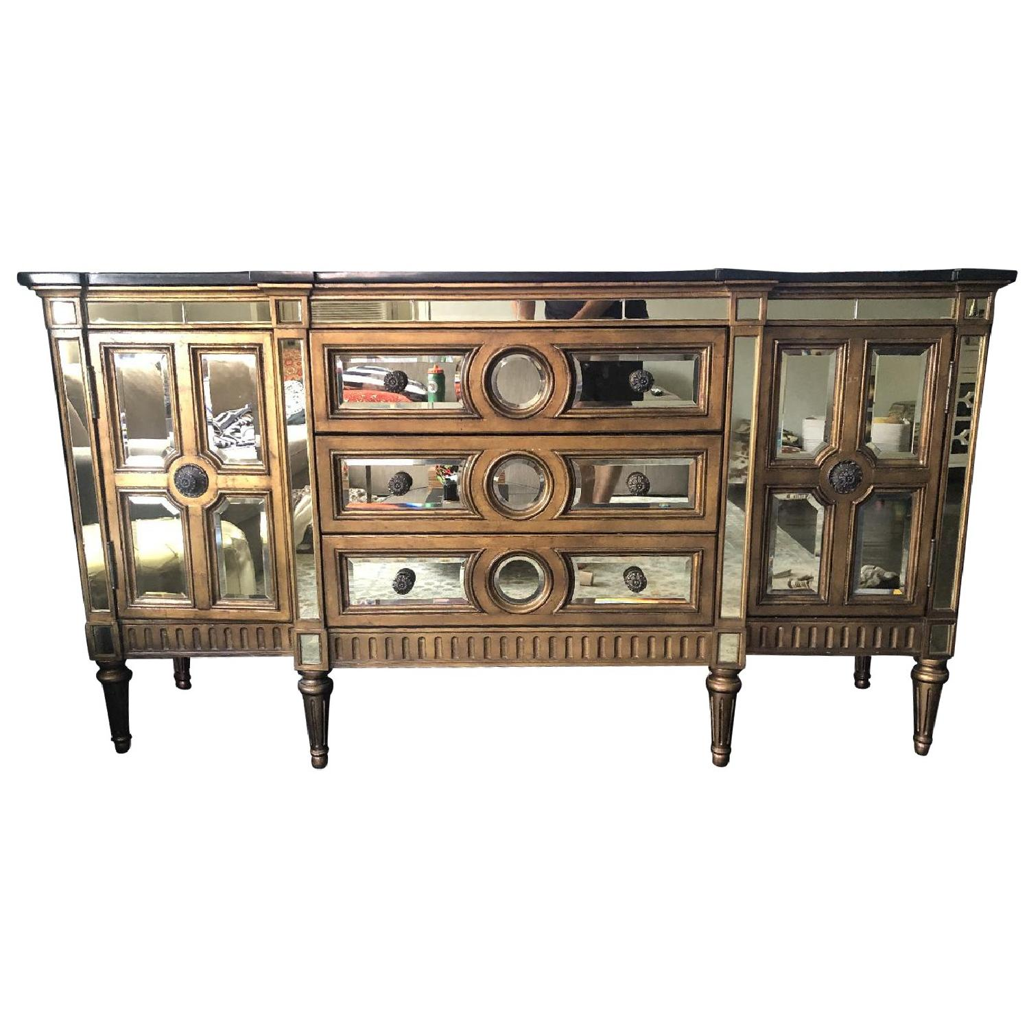 Horchow Golden Mirrored Console - image-0