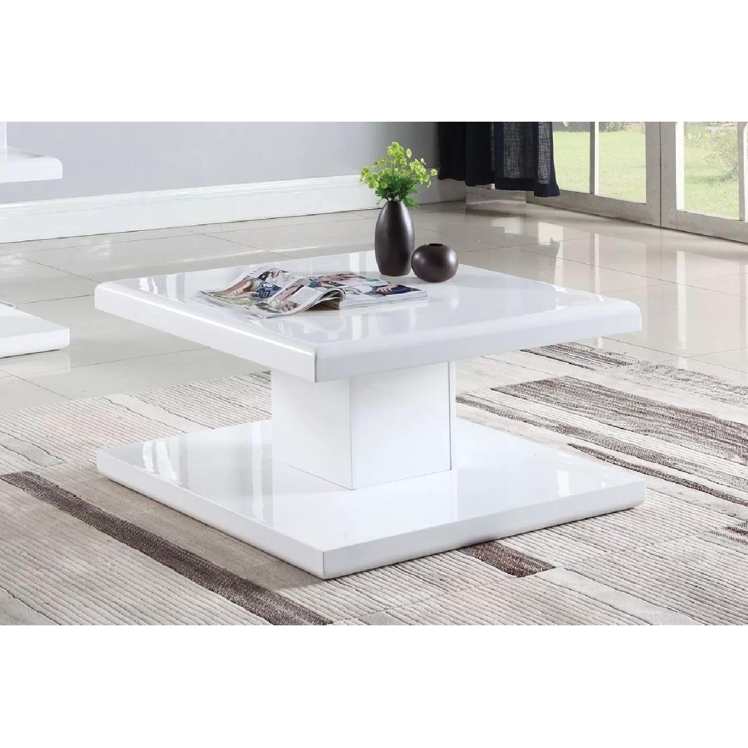 Modern Glossy White Coffee Table - image-2