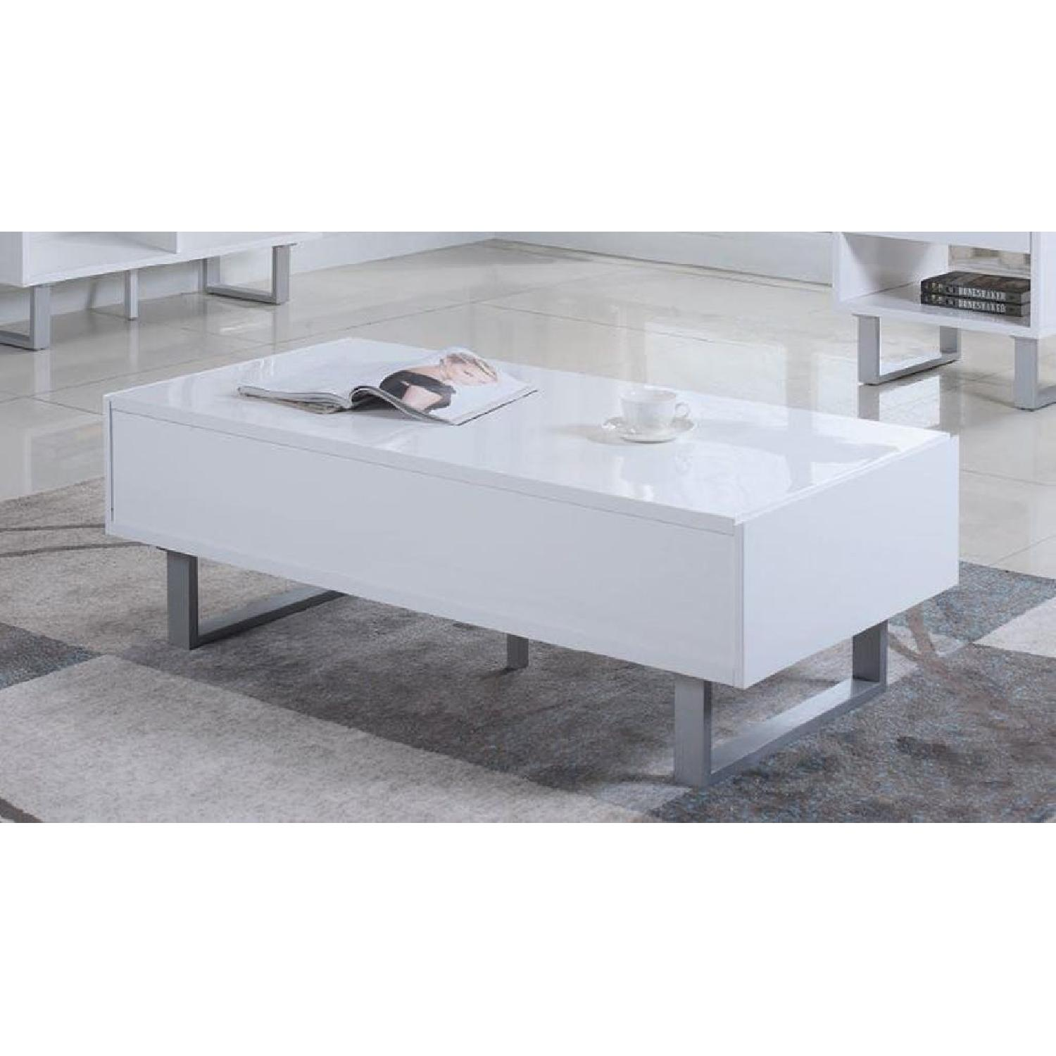 Glossy White Coffee Table w/ 2 Side Drawers - image-1