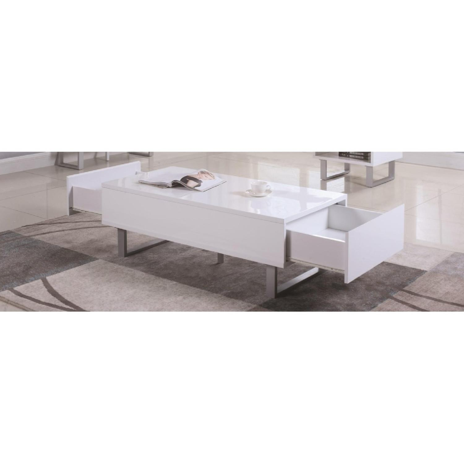 Glossy White Coffee Table w/ 2 Side Drawers - image-2