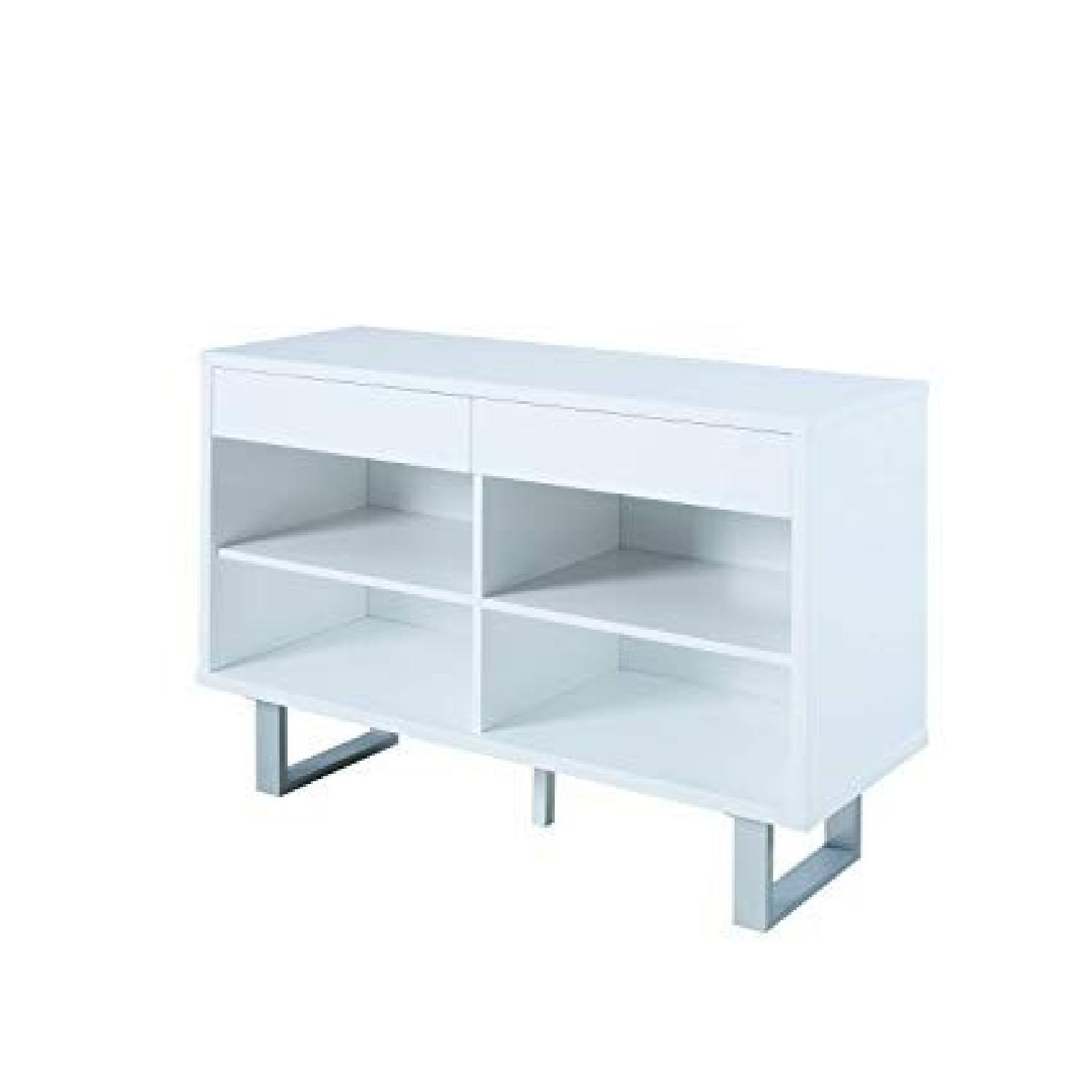 Glossy White Sofa Table w/ 2 Side Drawers - image-0
