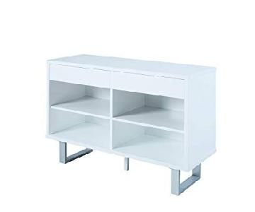 Glossy White Sofa Table w/ 2 Side Drawers
