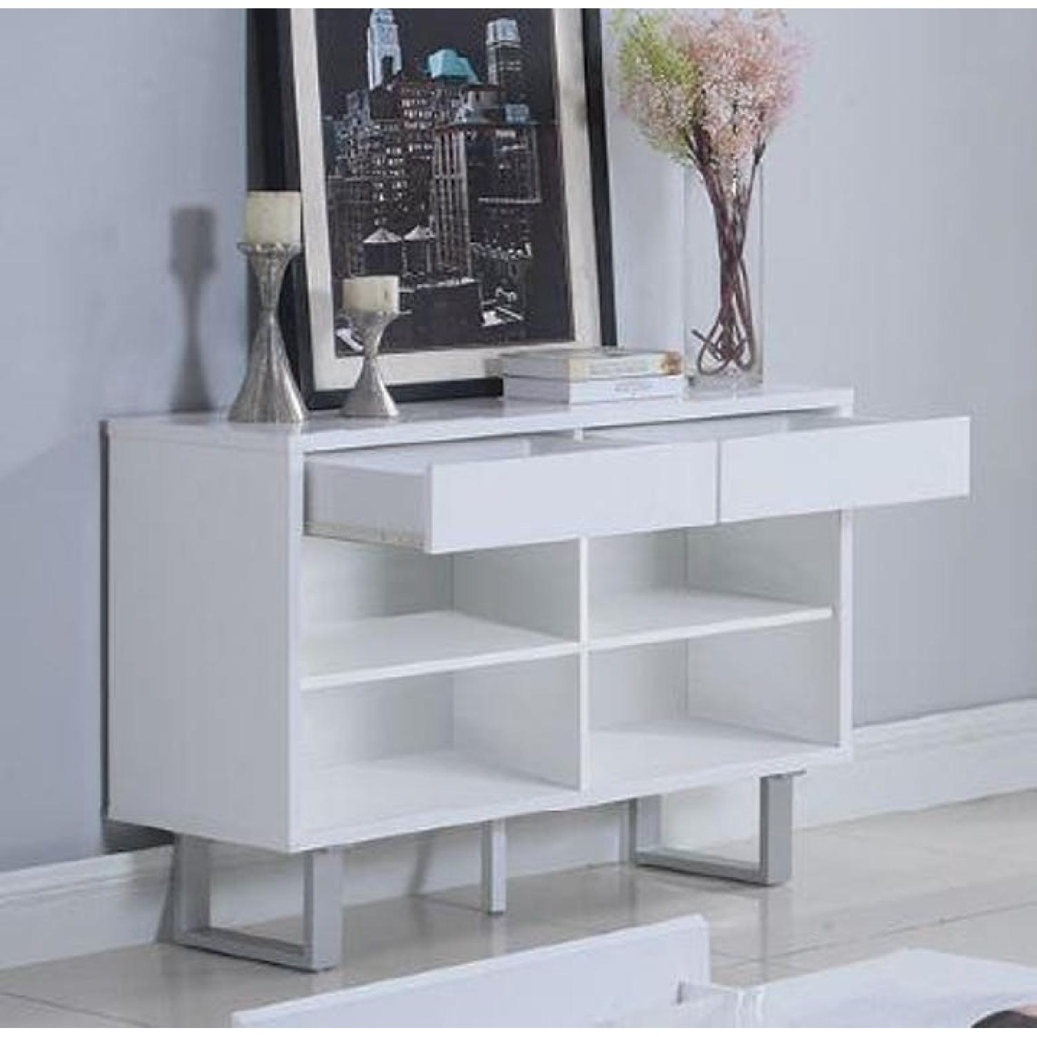 Glossy White Sofa Table w/ 2 Side Drawers - image-1