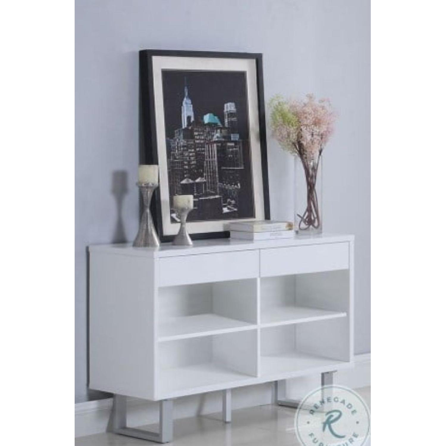 Glossy White Sofa Table w/ 2 Side Drawers - image-2