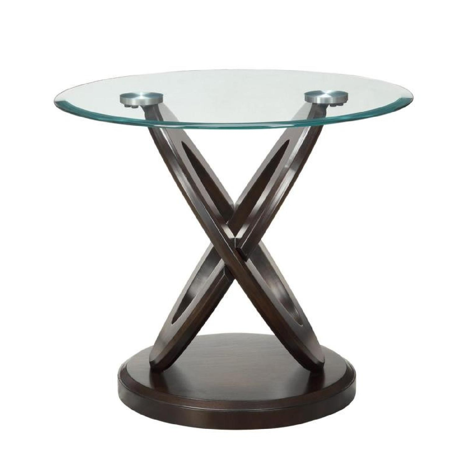 Oval Glass End Table w/ Cappuccino Legs - image-0