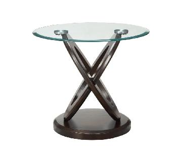 Oval Glass End Table w/ Cappuccino Legs