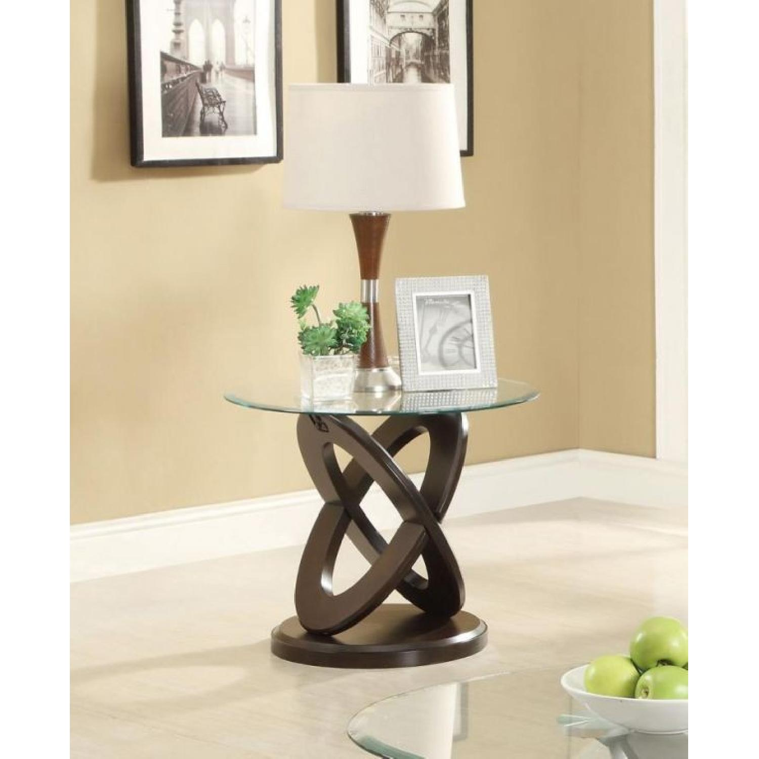 Oval Glass End Table w/ Cappuccino Legs - image-1