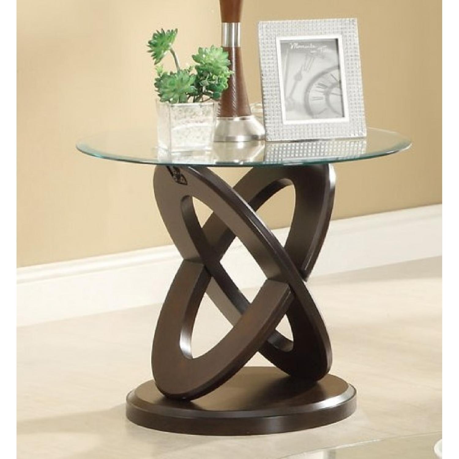 Oval Glass End Table w/ Cappuccino Legs - image-2