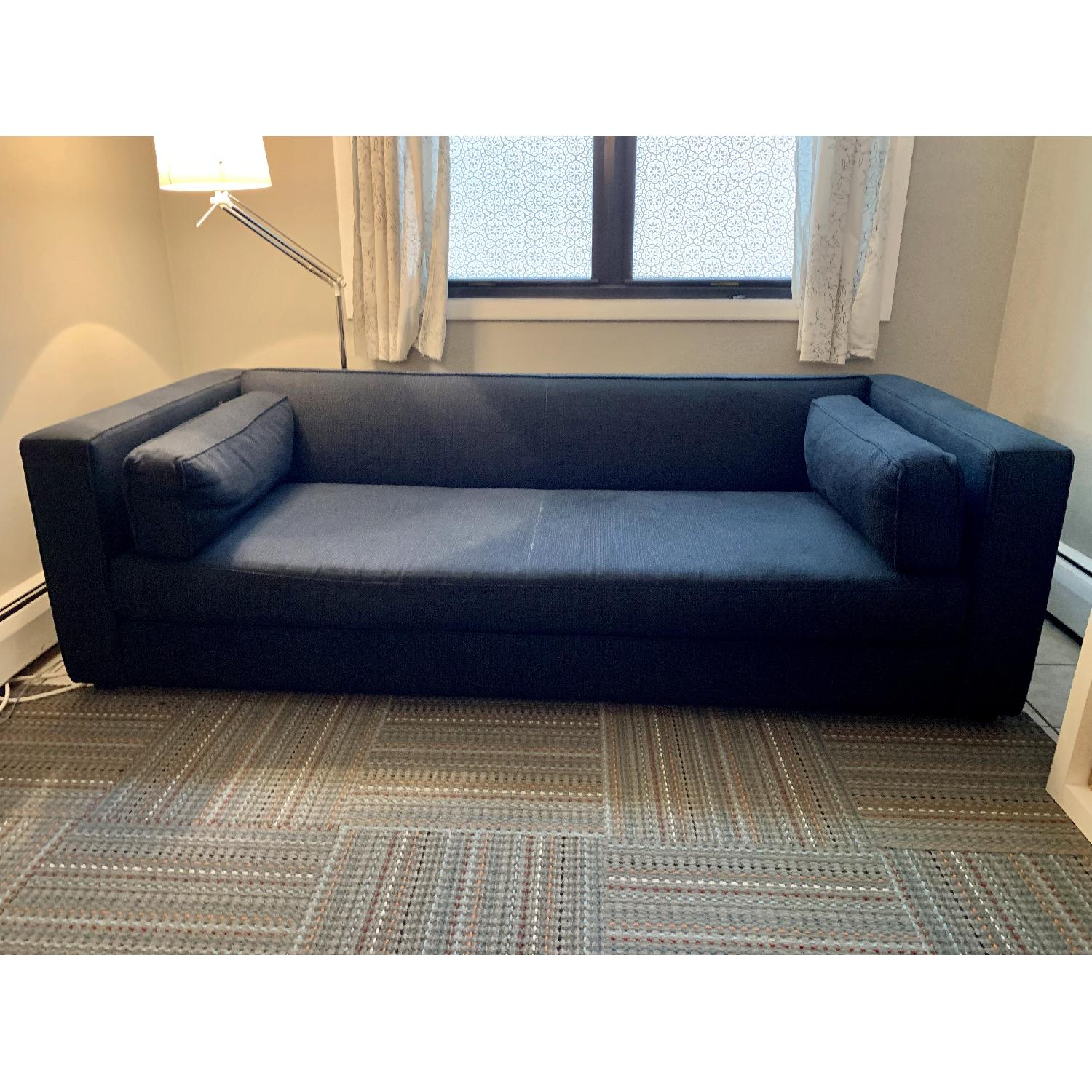 Crate & Barrel Dark Blue/Navy Fabric Sofa-0