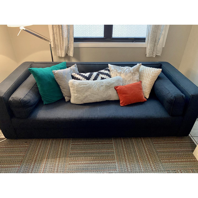 Crate & Barrel Dark Blue/Navy Fabric Sofa - image-3