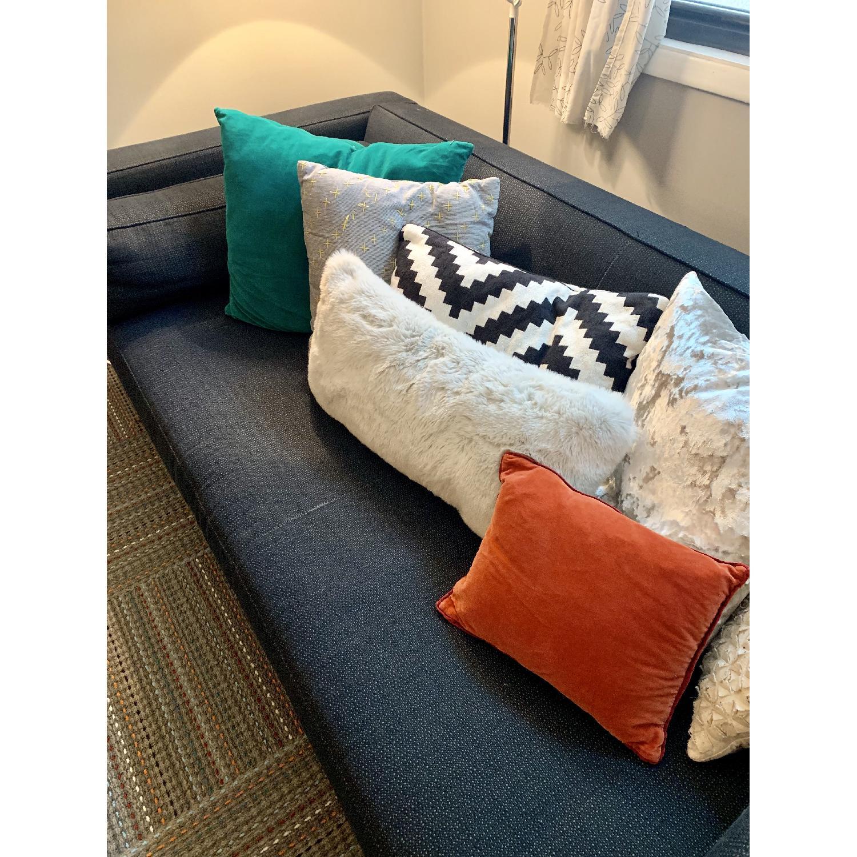 Crate & Barrel Dark Blue/Navy Fabric Sofa - image-4