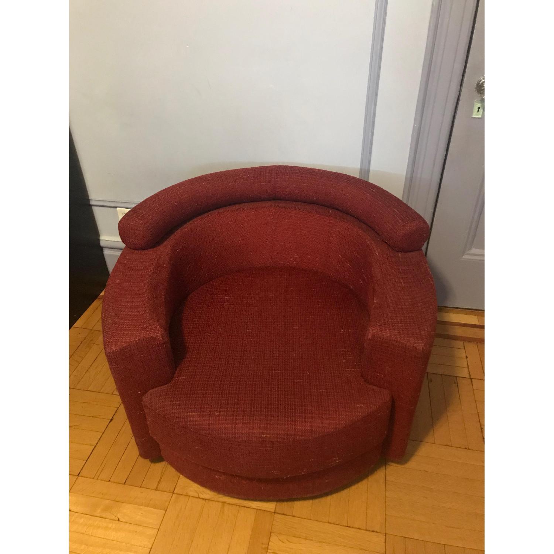 Roche Bobois Red Swivel Arm Chair w/ Pillows - image-2