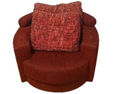 Roche Bobois Red Swivel Arm Chair w/ Pillows
