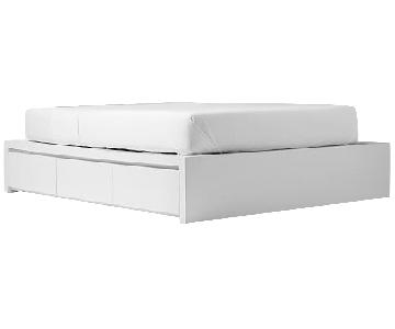 West Elm Queen Storage Bed Frame in White