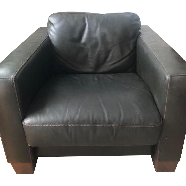 Sofitalia Black Leather Armchair - image-0