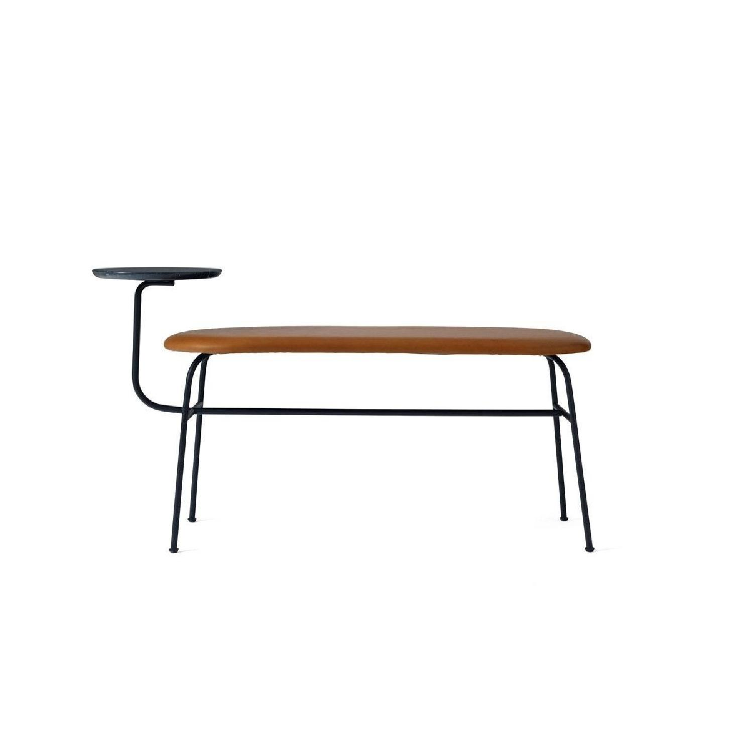 Afteroom Bench in Black w/ Cognac Dunes Leather - image-0