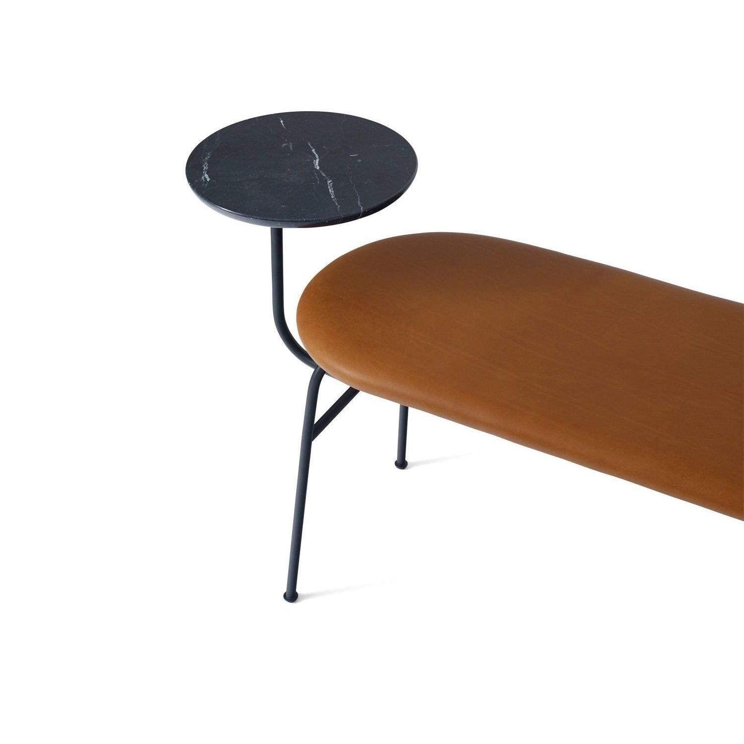 Afteroom Bench in Black w/ Cognac Dunes Leather - image-1